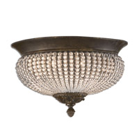 Cristal De Lisbon 2 Light 15 inch Golden Bronze Flush Mount Ceiling Light