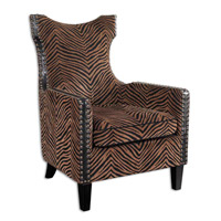 Kimoni Plush Golden Brown And Black Stripes Armchair Home Decor