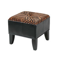 Uttermost Kumari Ottoman in Plush Golden Brown And Black Stripes 23022 photo thumbnail