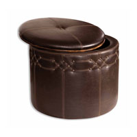 Uttermost Brunner Small Storage Ottoman in Rugged Saddle Brown Faux Leather 23024