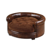 Lucky Durable Brown Imitated Leather Sofa Comes Pet Bed