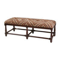 Uttermost Zebring Bench in Seaglass Blue Sand And Cocoa Brown 23027