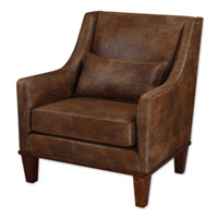 Uttermost 23030 Clay Faux Tanned Leather Fabric Armchair Home Decor photo thumbnail