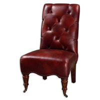 Uttermost Samhain Armless Chair in Durable Autumn Brown Faux Leather 23032 photo thumbnail
