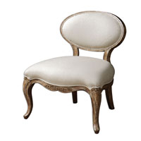 Uttermost Tola Slipper Chair in Hand Carved White Mahogany Frame 23050