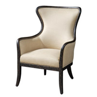 Zander White Mahogany Solid Wood Construction Wing Chair Home Decor
