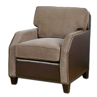 Uttermost 23058 Dillard Granite Velvet and Chocolate Brown Faux Leather Armchair photo thumbnail