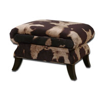Uttermost Jerzy Ottoman in Dark Saddle and Light Buff Velvet 23061 photo thumbnail