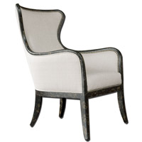 Uttermost 23073 Sandy Shimmery Sandy White Woven Tailoring Wing Chair Home Decor