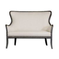 Uttermost Sandy Loveseat in Shimmery Sandy White Woven Tailoring 23074 photo thumbnail
