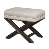 Viera Shimmery Sandy White Woven Tailoring Small Bench