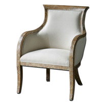 Quintus Almond Stained Distressed White Mahogany Armchair Home Decor