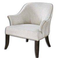 Uttermost 23114 Leisa Alabaster White Armchair