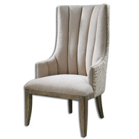 Zyla Almond Beige Chenille Armchair Home Decor