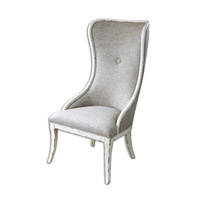 Selam Weathered White Wing Chair Home Decor
