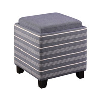 Uttermost Lewis Storage Ottoman in Blue/Satin Black 23320