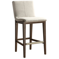 Klemens Neutral Linen Fabric and Light Walnut Bar Stool Home Decor