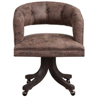 Waylon Distressed Cocoa Brown Fabric and Dark Walnut Swivel Chair Home Decor