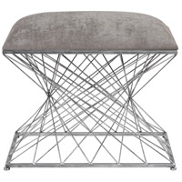 Zelia Stony Gray Chenille Fabric and Burnished Silver Accent Stool