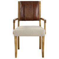 Uttermost 23418 Carson Honey Stained Hardwood and Neutral Beige Armchair