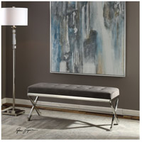 Uttermost 23430 Bijou Polished Stainless Steel and Slate Gray Fabric Bench alternative photo thumbnail