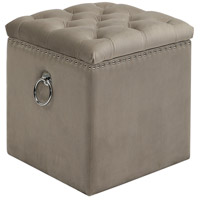 Uttermost 23455 Talullah 19 inch Champagne Velvet and Polished Nickel Storage Ottoman thumb