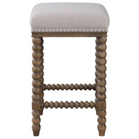 Pryce 26 inch Light Walnut Stain and Soft Ivory Linen Counter Stool