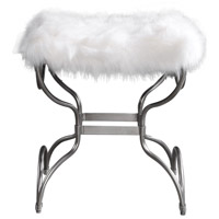 Channon Metallic Silver Leaf and Soft White Bench, Small