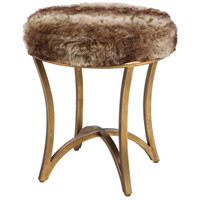 Uttermost 23497 Bernett 19 inch Antiqued Gold Leaf and Soft Brown Hues Accent Stool