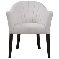 Lavana Ivory Chenille Fabric and Dark Walnut Accent Chair