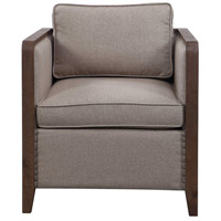 Ennis Walnut and Light Taupe Chevron Polyester Accent Chair
