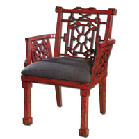 Uttermost Camdon Red Armchair in Antique Red 23604