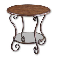 Uttermost Felicienne Accent Table in Warm Chestnut Brown Burl Veneer 24111