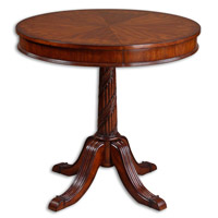 Uttermost Brakefield Round Table in Polished Pecan 24149