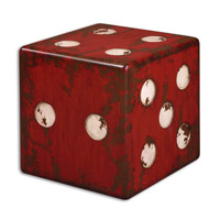 Dice 19 X 19 inch Burnt Red Accent Table