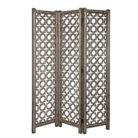 Uttermost Quatrefoil Floor Screen in Burnished Aluminum 24181