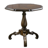 Uttermost Lastri Accent Table in Rich Walnut Veneer Top On Solid Carved Base 24193 photo thumbnail