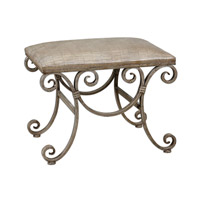 Uttermost Leontina Small Bench in Hand Forged Fluted Metal Frame 24239