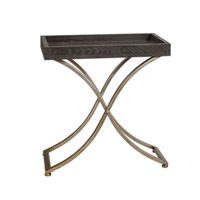 Uttermost Valli Accent Table in Ebony Stained and Champagne Steel Stand 24240