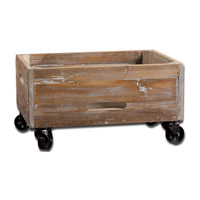 Stratford 24 inch Reclaimed Fir Wood with Light Gray Wash Rolling Box