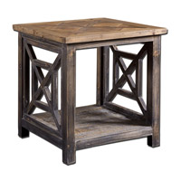 Uttermost Spiro End Table in Brushed Black Reclaimed Fir Wood 24263