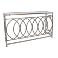Aniya 60 inch Antiqued Silver Leaf Console Table Home Decor