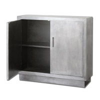 Uttermost Martel Modern Console Cabinet in Aluminum Clad 24308 photo thumbnail