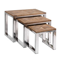 Hesperos 28 inch Reclaimed Fir Wood Nesting Table Home Decor