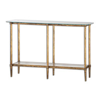 Elenio 54 inch Bright Gold Leafed Console Table Home Decor