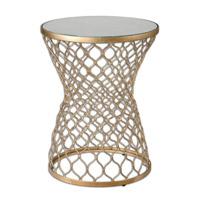 Naeva 17 inch Gold Leaf End Table Home Decor