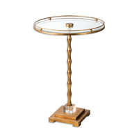 Uttermost Quindici Accent Table in Lightly Antique Gold Leaf 24507