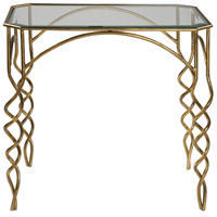 Lora 28 inch Antiqued Gold Leaf End Table Home Decor