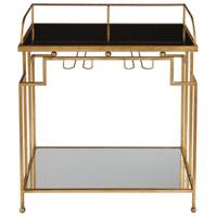 Uttermost 24762 Burgess 30 inch Antiqued Gold Leaf Bar Cart Home Decor