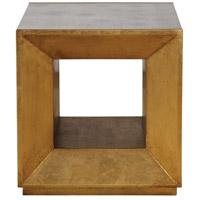 Uttermost 24763 Flair 20 inch Antiqued Mirror and Antiqued Gold Leaf Cube Table Home Decor